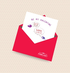 Happy valentines day card with envelope bubble and vector