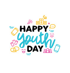 Happy youth day typography quote greeting card vector