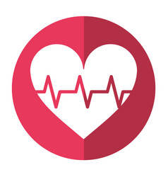 heart pulse rhythm cardio shadow vector image