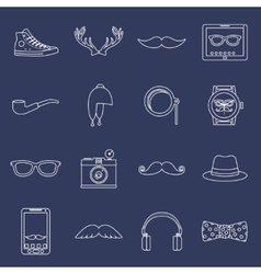 Hipster icons set outline vector image