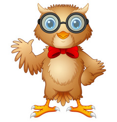 hipster owl in glasses and bow tie vector image