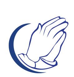 Hopeful praying hands icon symbol vector