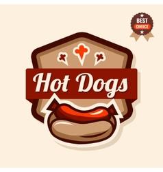 Hot dog emblem vector