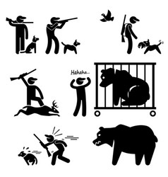 Hunter and hunting dog stick figure pictograph vector