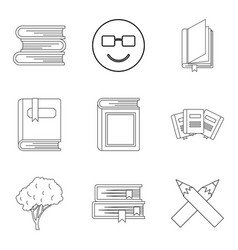 increase of knowledge icons set outline style vector image
