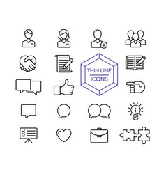 Internet business line icon set for web marketing vector