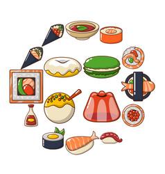 japan food icons set cartoon style vector image