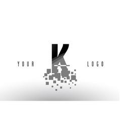 k pixel letter logo with digital shattered black vector image