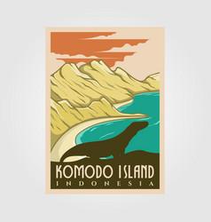 komodo island vintage logo nkomodo island vintage vector image