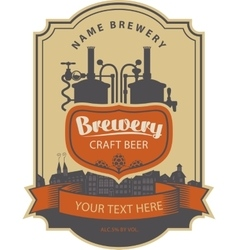 label beer with brewery vector image vector image