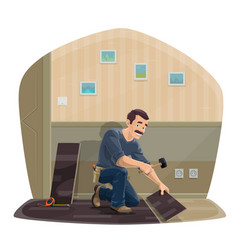 Laminate flooring service worker with tools vector
