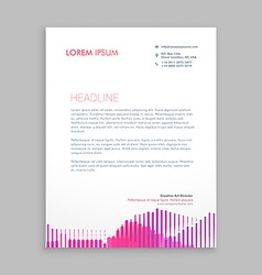 Letterhead design with pink stripes vector