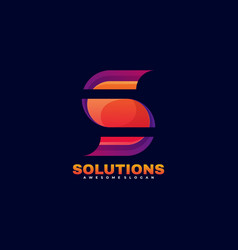logo solution gradient colorful style vector image