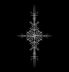 Magic ancient viking white wind rose navigation vector