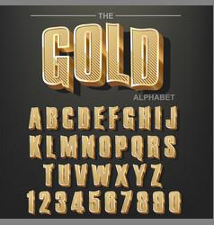 modern elegant golden font and alphabet abc vector image