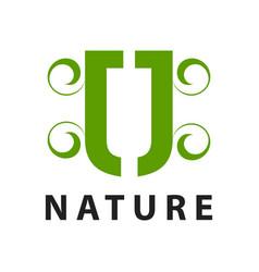 nature initial letter jj or u logo concept design vector image