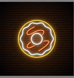 Neon donut sign bright light donut emblem vector