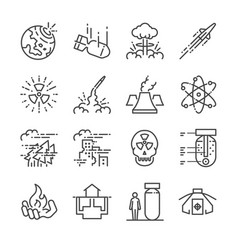 Nuclear line icon set vector