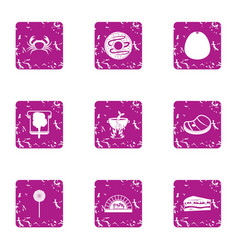 Nutritious dinner icons set grunge style vector