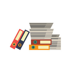 office documents paper folders stacked pile vector image