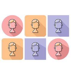 Outlined icon of child user picture with parallel vector