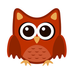 owl funny stylized icon symbol brown orange colors vector image