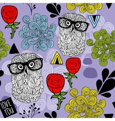Owls with roses and design elements vector image