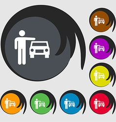 Person up hailing a taxi icon sign Symbols on vector