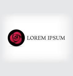 pink triangle rose in black circle logo design vector image