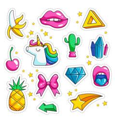 pop art retro stickers ice cream eyes rainbow vector image