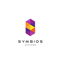 purple geometry letter p logo design vector image