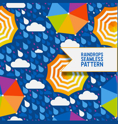 raindrops and umbrella seamless pattern vector image