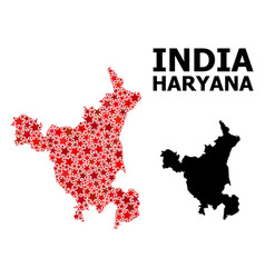 Red star mosaic map haryana state vector