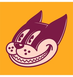 Retro cartoon character smiling cat vector