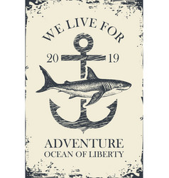 Retro travel banner with ship anchor and shark vector
