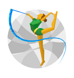 Rhythmic gymnastics with ribbon vector