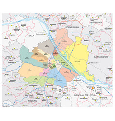 Road and administrative map vienna vector