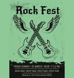Rock fest party announcement poster design vector