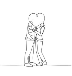 romantic love concept one single line drawing of vector image