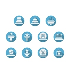Round blue flat icons for fountains vector image