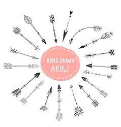set black hand drawn arrows hipster ethnic vector image