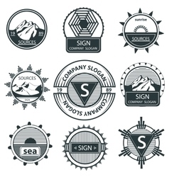 Set emblems mountain labels and signs vintage vector image