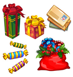 set of gift boxes and bag with gifts letters vector image