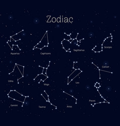 Set zodiac signs night sky background realistic vector