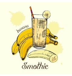 Sketch of banana smoothie in glass Colorful vector image