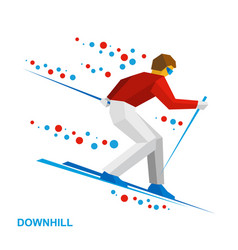 Skier running downhill vector