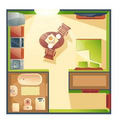 small studio apartment cartoon plan vector image