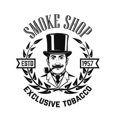 Smoke shop gentleman with smoking pipe design vector