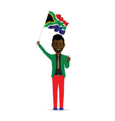south africa flag waving man vector image