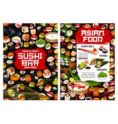 sushi rolls temaki and nigiri seafood maki vector image